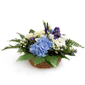 Blauw wit arrangement decoratie