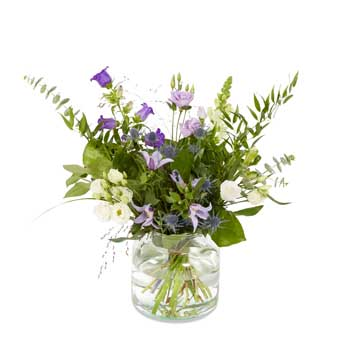 Purple bouquet with vase