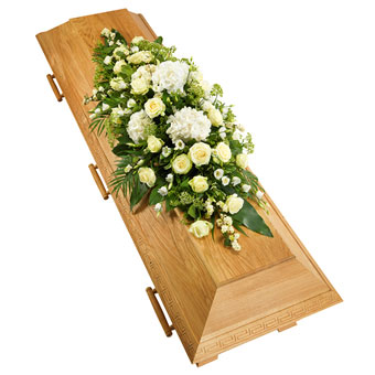 Coffin decoration in white colours.