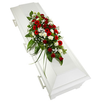 Coffin decoration in red and white