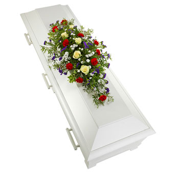 Coffin decoration in white, red and blue