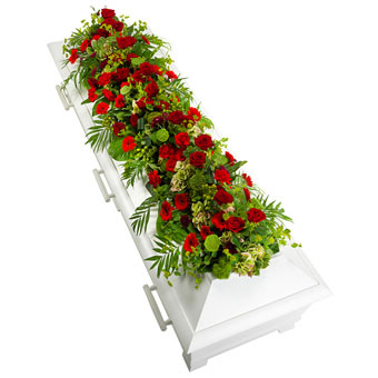 Coffin decoration in red and green colours