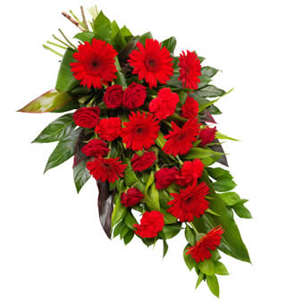 Deep red funeral bouquet