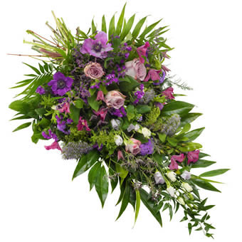 Funeral sheaf in purple and violet colours.