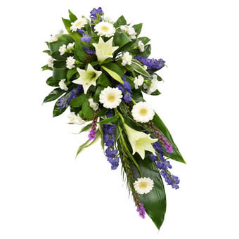 Funeral spray white & purple