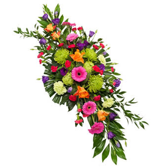 Mixed colours funeral spray