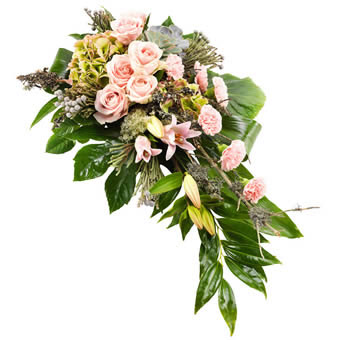 Funeral spray in light pink and green
