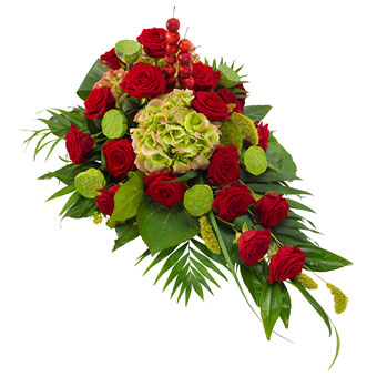 Funeral spray in red and green