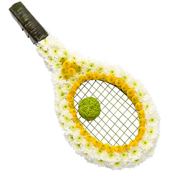 White and yellow racket-shaped funeral decoration