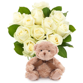 White roses with teddy