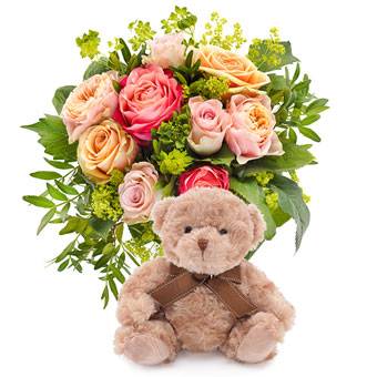Rose charm & teddy bear