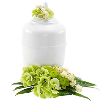 Urn arrangement in white and green