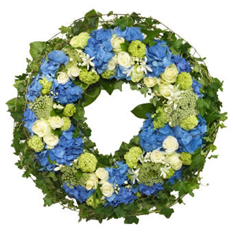 Funeral wreath in blue