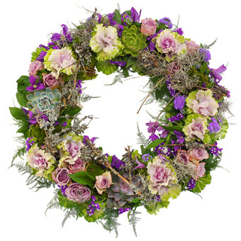 Purple funeral wreath