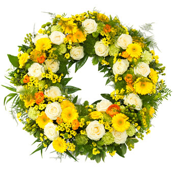 Yellow and green funeral wreath