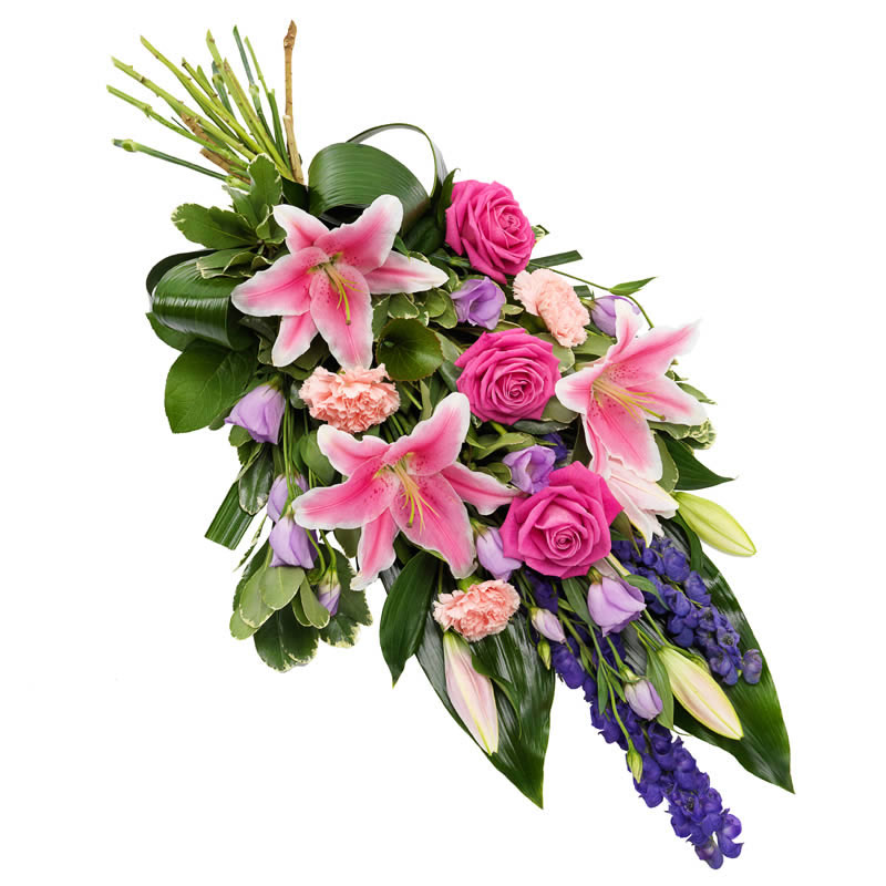 Purple pink funeral bouquet