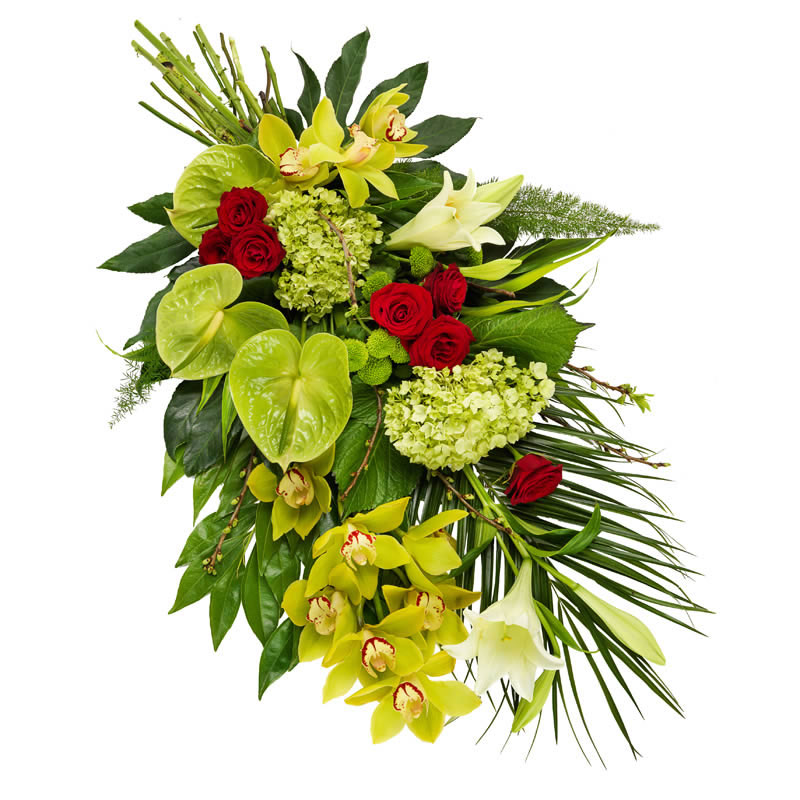 Lime green funeral bouquet