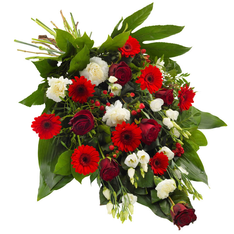 Funeral sheaf red & white