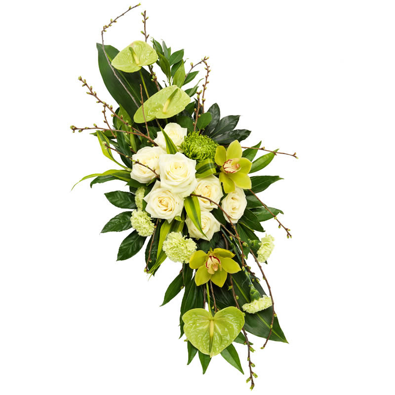 Funeral spray white & green