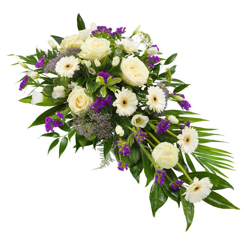 White and purple funeral spray