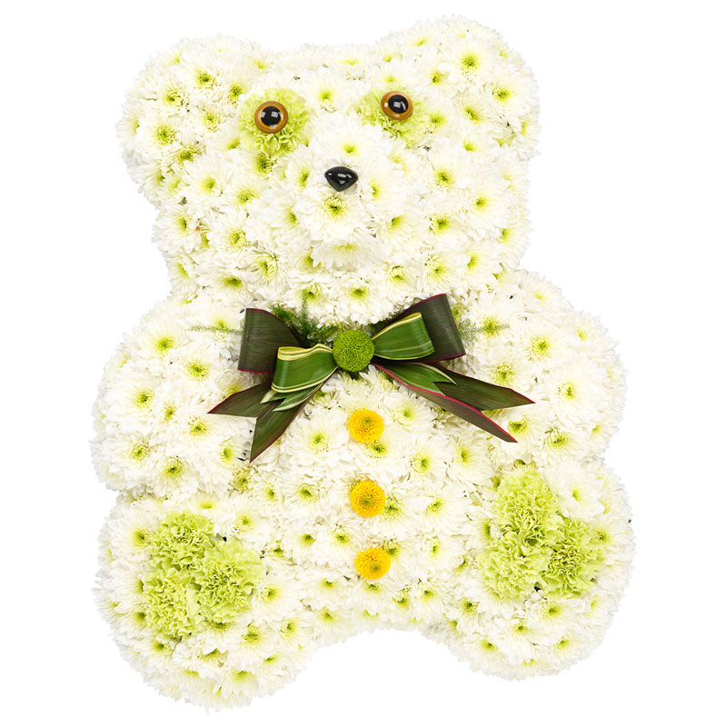 White Teddy funeral decoration
