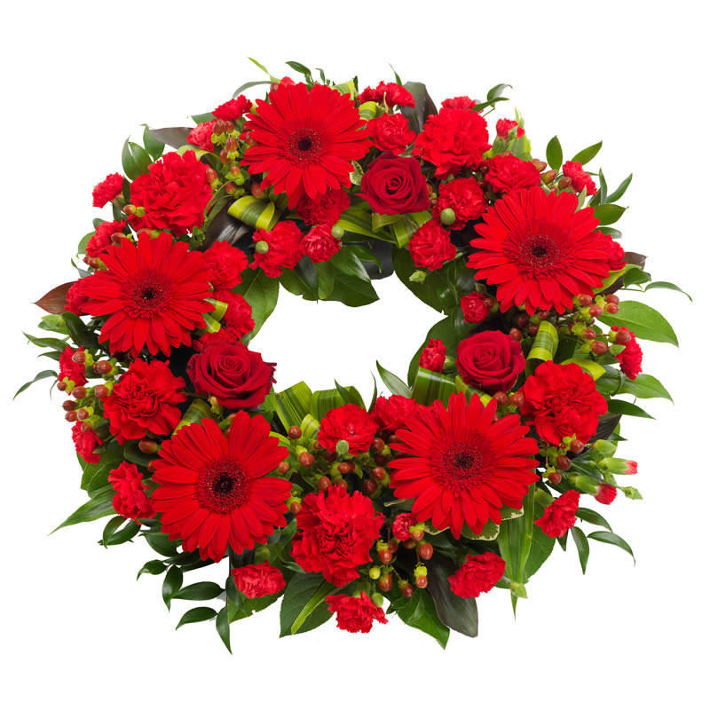 Bright Red Funeral Wreath